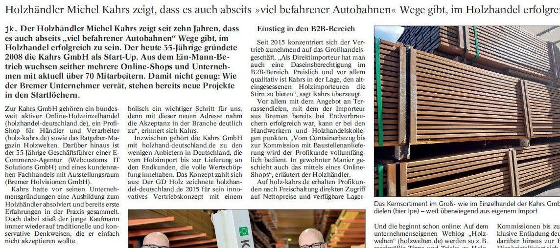 Holz-Zentralblatt veröffentlicht Artikel über uns